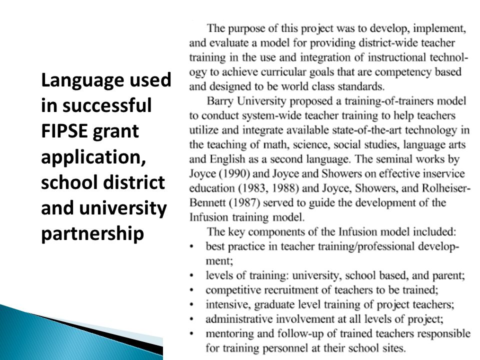 Language used in successful FIPSE grant application, school district and university partnership