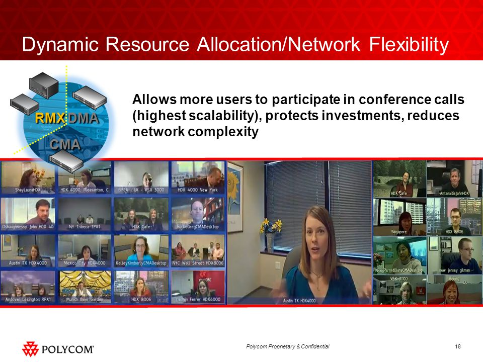 18Polycom Proprietary & Confidential Dynamic Resource Allocation/Network Flexibility Allows more users to participate in conference calls (highest sca