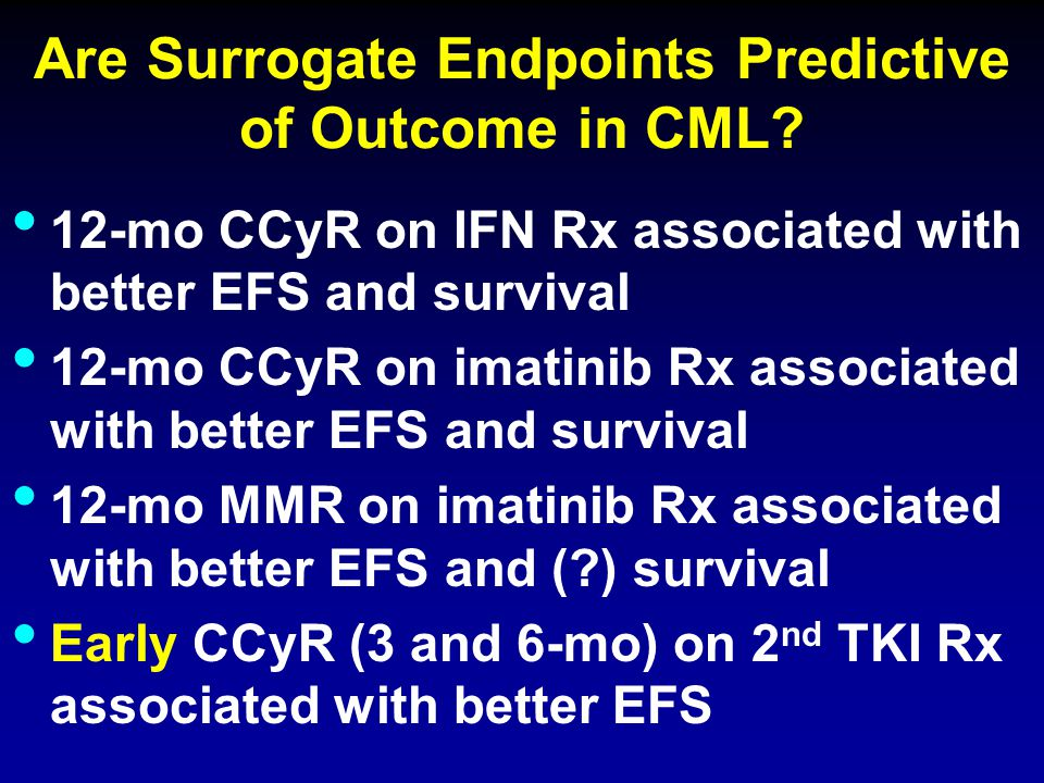 Are Surrogate Endpoints Predictive of Outcome in CML? 12-mo CCyR on IFN Rx associated with better EFS and survival 12-mo CCyR on imatinib Rx associate