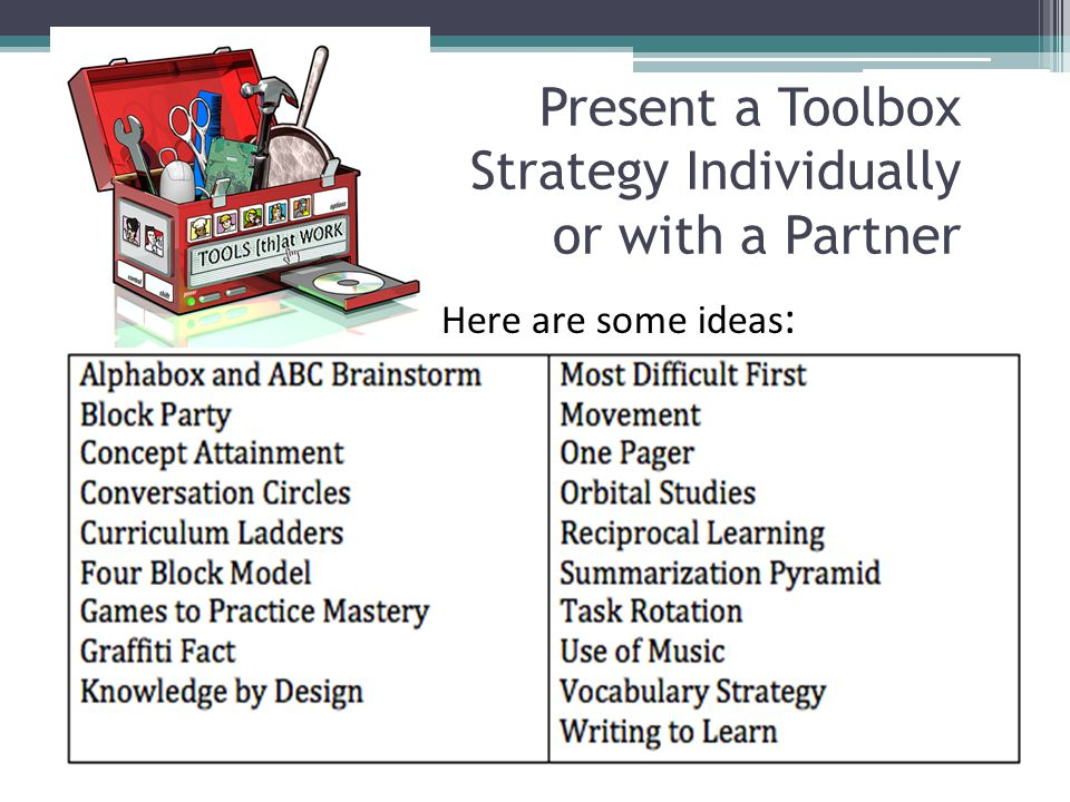 Present a Toolbox Strategy Individually or with a Partner Here are some ideas :