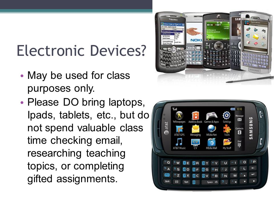 Electronic Devices. May be used for class purposes only.