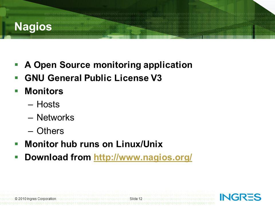 Nagios  A Open Source monitoring application  GNU General Public License V3  Monitors –Hosts –Networks –Others  Monitor hub runs on Linux/Unix  D