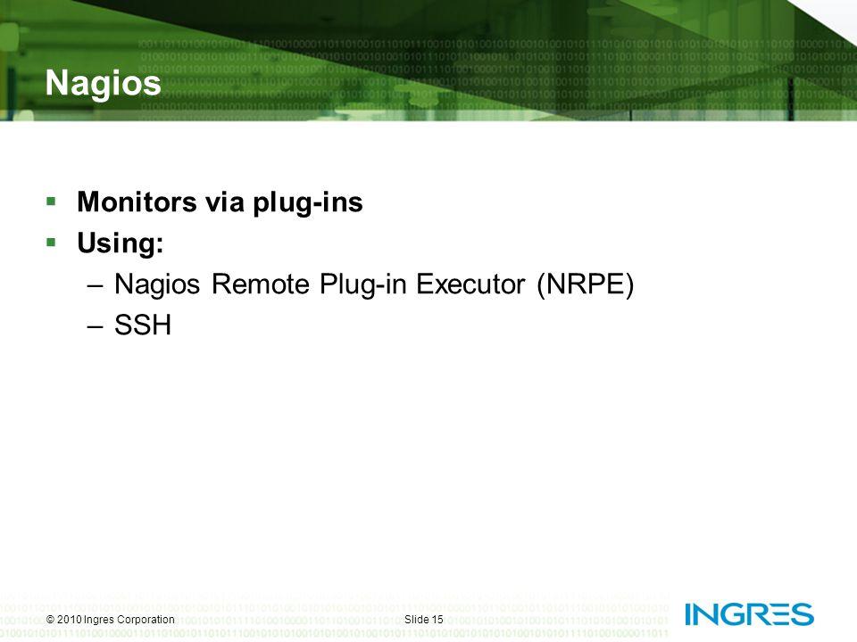 Nagios  Monitors via plug-ins  Using: –Nagios Remote Plug-in Executor (NRPE) –SSH © 2010 Ingres CorporationSlide 15