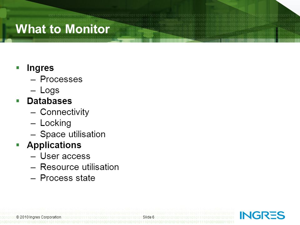 What to Monitor  Ingres –Processes –Logs  Databases –Connectivity –Locking –Space utilisation  Applications –User access –Resource utilisation –Pro