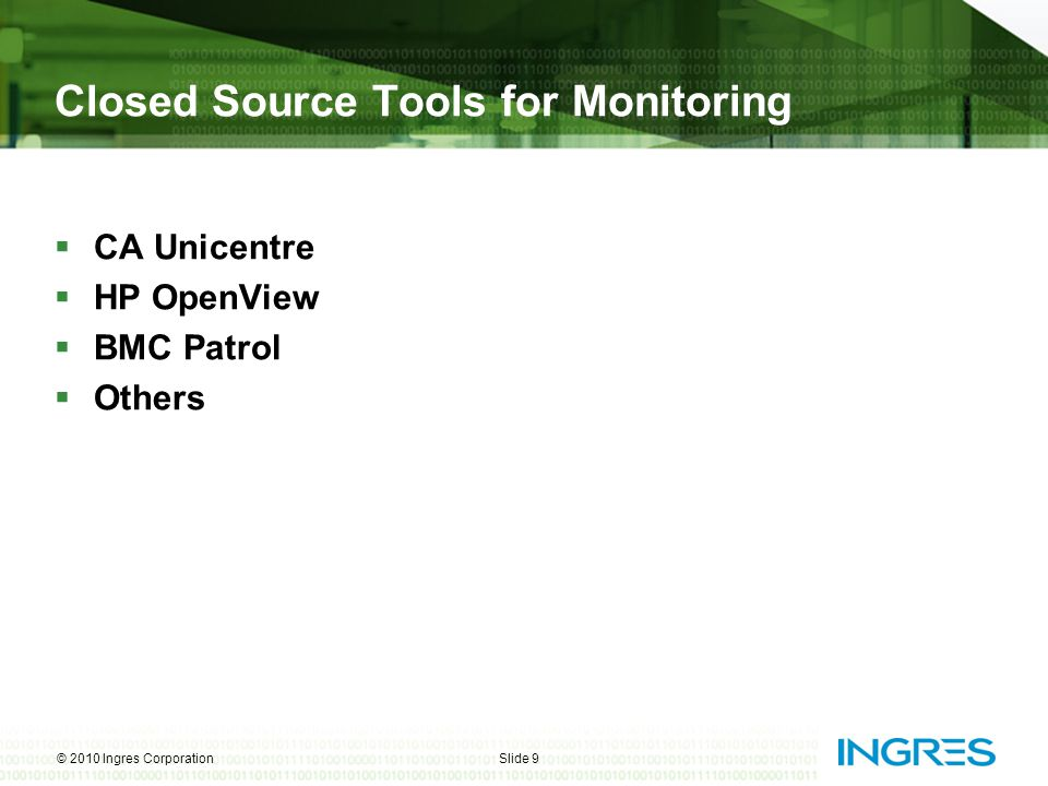Custom Plug-ins for Ingres  To monitor server processes  For Error log mining  To measure DMF cache hit ratios  To identify –Tables in overflow –Long running queries © 2010 Ingres CorporationSlide 20