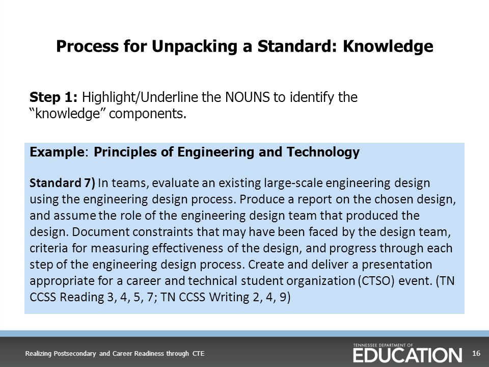 Process for Unpacking a Standard: Knowledge Example: Principles of Engineering and Technology Standard 7) In teams, evaluate an existing large-scale e