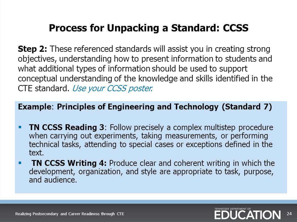 Process for Unpacking a Standard: CCSS Step 2: These referenced standards will assist you in creating strong objectives, understanding how to present