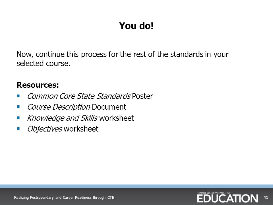 You do! Now, continue this process for the rest of the standards in your selected course. Resources:  Common Core State Standards Poster  Course Des