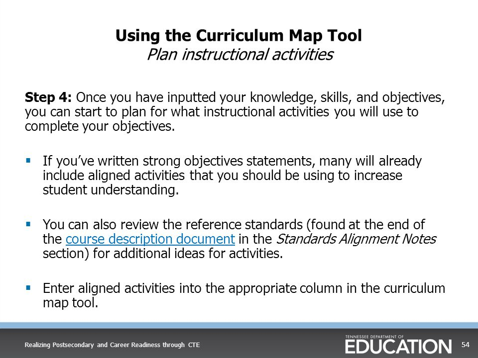 Step 4: Once you have inputted your knowledge, skills, and objectives, you can start to plan for what instructional activities you will use to complet