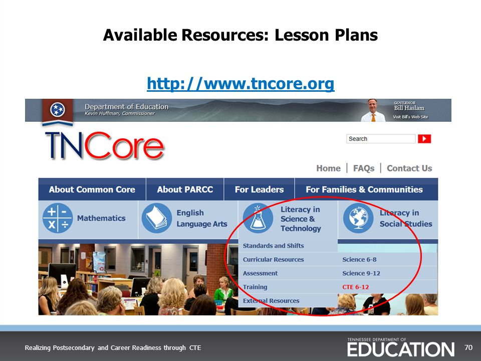 Realizing Postsecondary and Career Readiness through CTE 70 Available Resources: Lesson Plans http://www.tncore.org