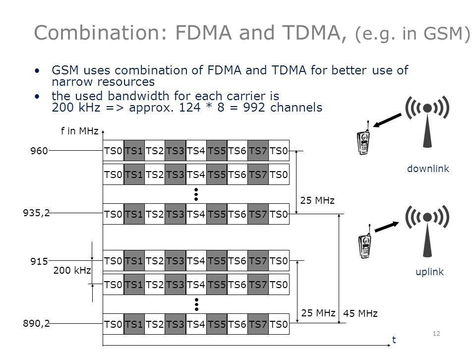 Combination: FDMA and TDMA, (e.g.