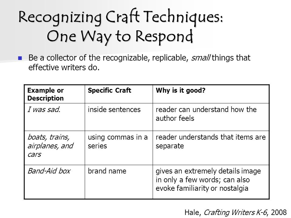 Recognizing Craft Techniques: One Way to Respond Be a collector of the recognizable, replicable, small things that effective writers do.