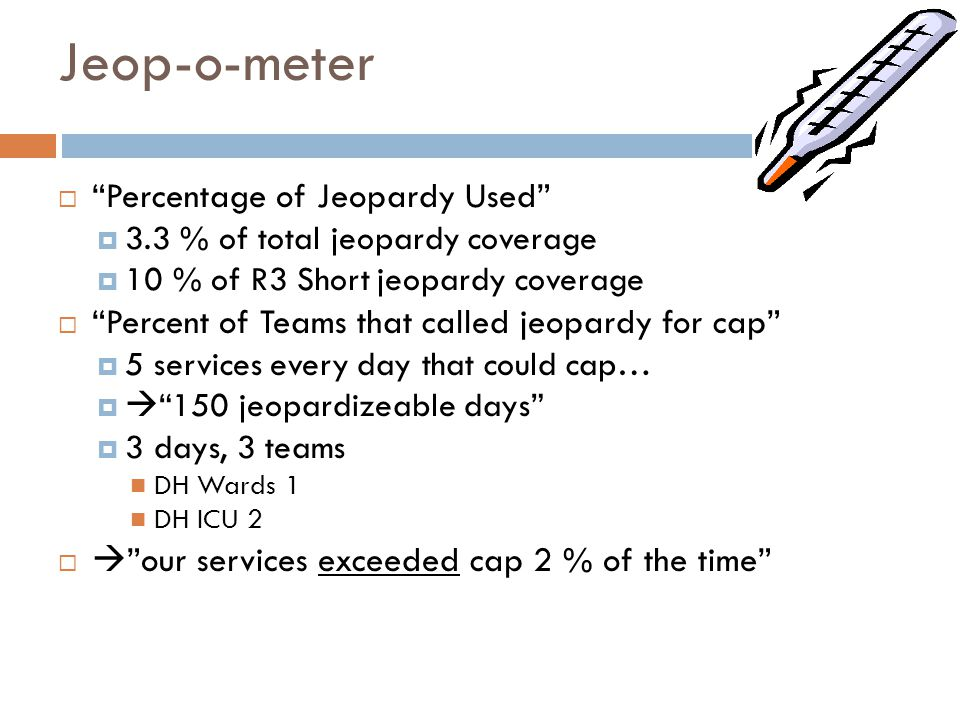 "Jeop-o-meter  ""Percentage of Jeopardy Used""  3.3 % of total jeopardy coverage  10 % of R3 Short jeopardy coverage  ""Percent of Teams that called j"