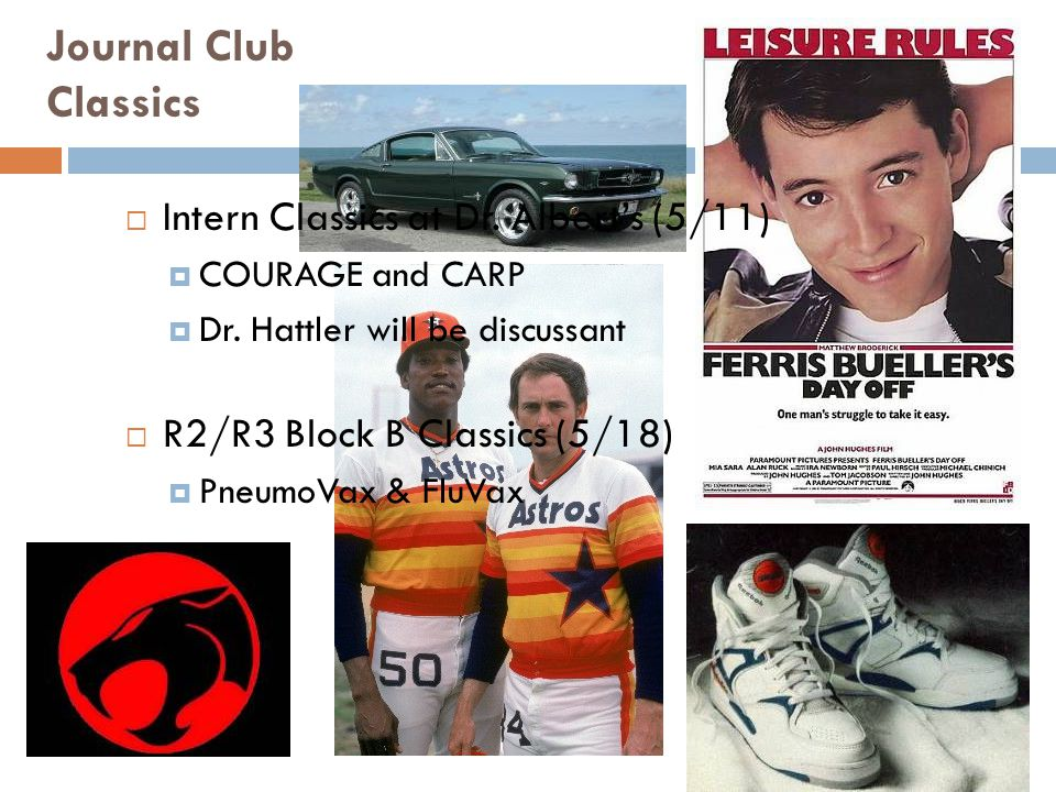 Journal Club Classics  Intern Classics at Dr. Albert's (5/11)  COURAGE and CARP  Dr.