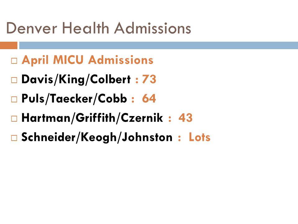Denver Health Admissions  April MICU Admissions  Davis/King/Colbert : 73  Puls/Taecker/Cobb : 64  Hartman/Griffith/Czernik : 43  Schneider/Keogh/Johnston : Lots
