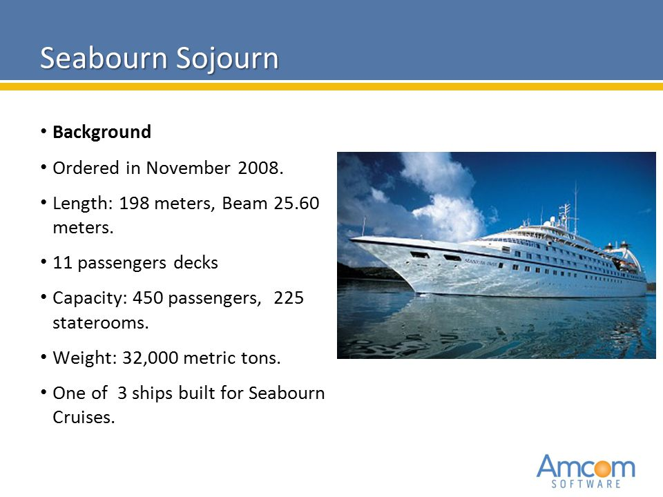 2010 Amcom Software CONFIDENTIAL Background Ordered in November 2008. Length: 198 meters, Beam 25.60 meters. 11 passengers decks Capacity: 450 passeng