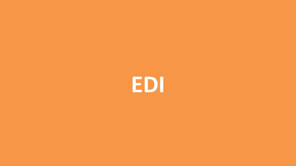 EDIFACT Transmissions DESADV Despatch Advice Notifies recipient (seller) when material has been dispatched or will be ready for dispatch Much like an inbound 856 – notifies seller of incoming product Populates EDI PO Change Request in NAV Posting updates a purchase order doc in NAV with line and header details