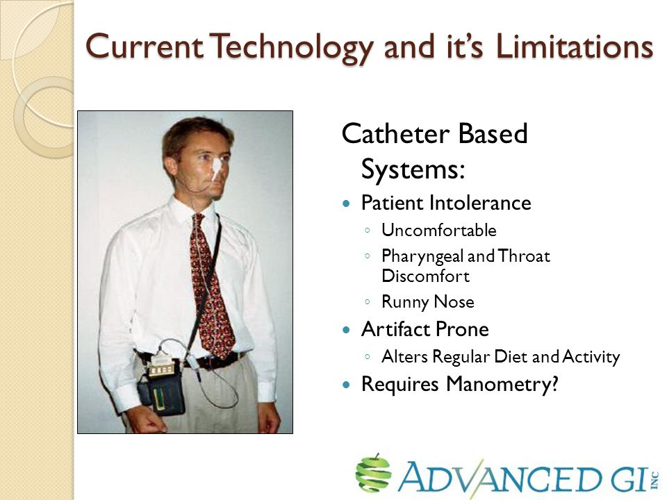 Current Technology and it's Limitations Catheter Based Systems: Patient Intolerance ◦ Uncomfortable ◦ Pharyngeal and Throat Discomfort ◦ Runny Nose Artifact Prone ◦ Alters Regular Diet and Activity Requires Manometry