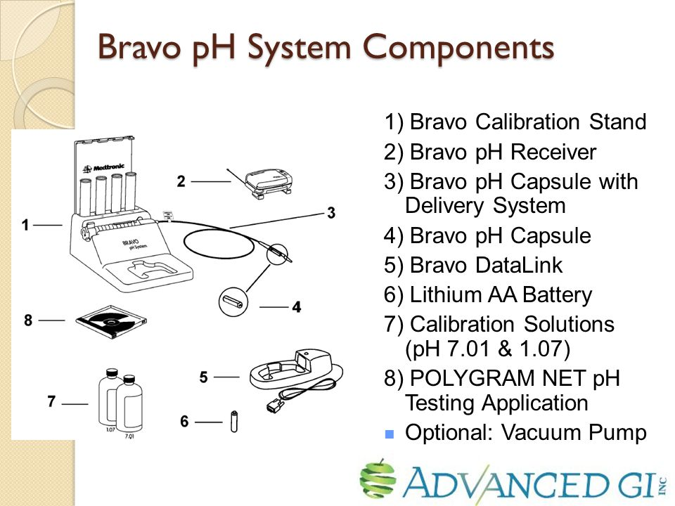 Bravo pH System Components 1) Bravo Calibration Stand 2) Bravo pH Receiver 3) Bravo pH Capsule with Delivery System 4) Bravo pH Capsule 5) Bravo DataLink 6) Lithium AA Battery 7) Calibration Solutions (pH 7.01 & 1.07) 8) POLYGRAM NET pH Testing Application Optional: Vacuum Pump