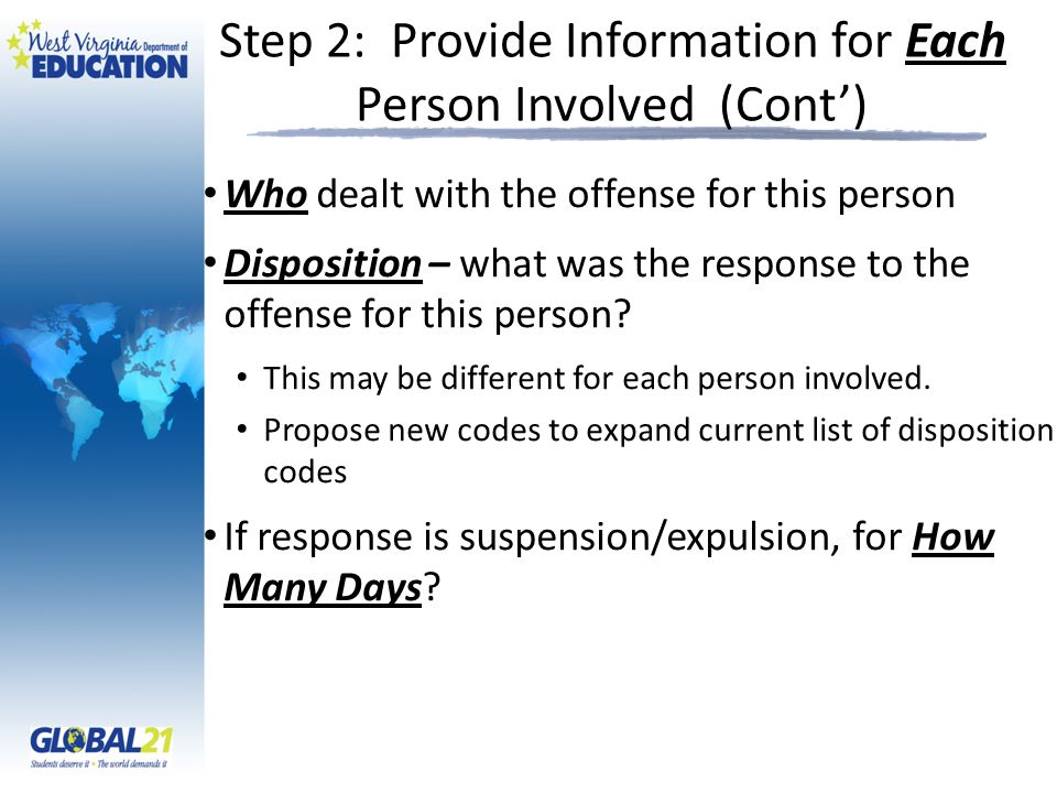 Step 2: Provide Information for Each Person Involved (Cont') Who dealt with the offense for this person Disposition – what was the response to the offense for this person.