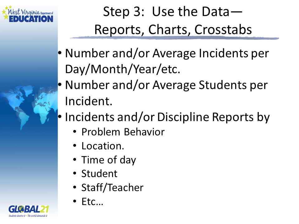Step 3: Use the Data— Reports, Charts, Crosstabs Number and/or Average Incidents per Day/Month/Year/etc.