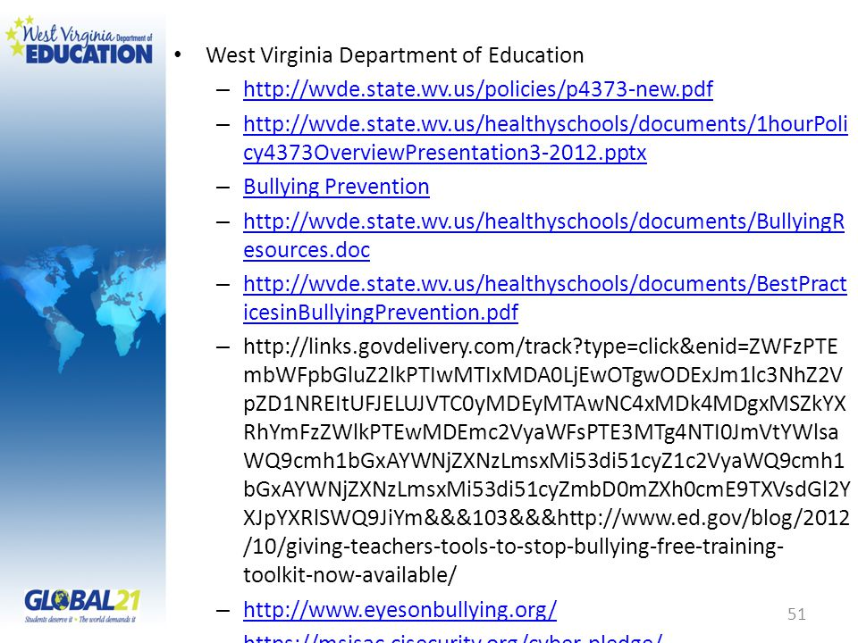 West Virginia Department of Education – http://wvde.state.wv.us/policies/p4373-new.pdf http://wvde.state.wv.us/policies/p4373-new.pdf – http://wvde.state.wv.us/healthyschools/documents/1hourPoli cy4373OverviewPresentation3-2012.pptx http://wvde.state.wv.us/healthyschools/documents/1hourPoli cy4373OverviewPresentation3-2012.pptx – Bullying Prevention Bullying Prevention – http://wvde.state.wv.us/healthyschools/documents/BullyingR esources.doc http://wvde.state.wv.us/healthyschools/documents/BullyingR esources.doc – http://wvde.state.wv.us/healthyschools/documents/BestPract icesinBullyingPrevention.pdf http://wvde.state.wv.us/healthyschools/documents/BestPract icesinBullyingPrevention.pdf – http://links.govdelivery.com/track type=click&enid=ZWFzPTE mbWFpbGluZ2lkPTIwMTIxMDA0LjEwOTgwODExJm1lc3NhZ2V pZD1NREItUFJELUJVTC0yMDEyMTAwNC4xMDk4MDgxMSZkYX RhYmFzZWlkPTEwMDEmc2VyaWFsPTE3MTg4NTI0JmVtYWlsa WQ9cmh1bGxAYWNjZXNzLmsxMi53di51cyZ1c2VyaWQ9cmh1 bGxAYWNjZXNzLmsxMi53di51cyZmbD0mZXh0cmE9TXVsdGl2Y XJpYXRlSWQ9JiYm&&&103&&&http://www.ed.gov/blog/2012 /10/giving-teachers-tools-to-stop-bullying-free-training- toolkit-now-available/ – http://www.eyesonbullying.org/ http://www.eyesonbullying.org/ – https://msisac.cisecurity.org/cyber-pledge/ https://msisac.cisecurity.org/cyber-pledge/ – http://www.stopbullying.gov/ http://www.stopbullying.gov/ – http://www.safetyzone.org/publications.html http://www.safetyzone.org/publications.html – http://www.psa-links.org/ http://www.psa-links.org/ – http://kidshealth.org/parent/emotions/behavior/bullies.html http://kidshealth.org/parent/emotions/behavior/bullies.html – http://www.aacap.org/publications/factsfam/80.htm http://www.aacap.org/publications/factsfam/80.htm – http://www.naspcenter.org/factsheets/bullying_fs.html http://www.naspcenter.org/factsheets/bullying_fs.html – http://www.bam.gov/ http://www.bam.gov/ – http://kathynoll.com/ http://kathynoll.com/ 51