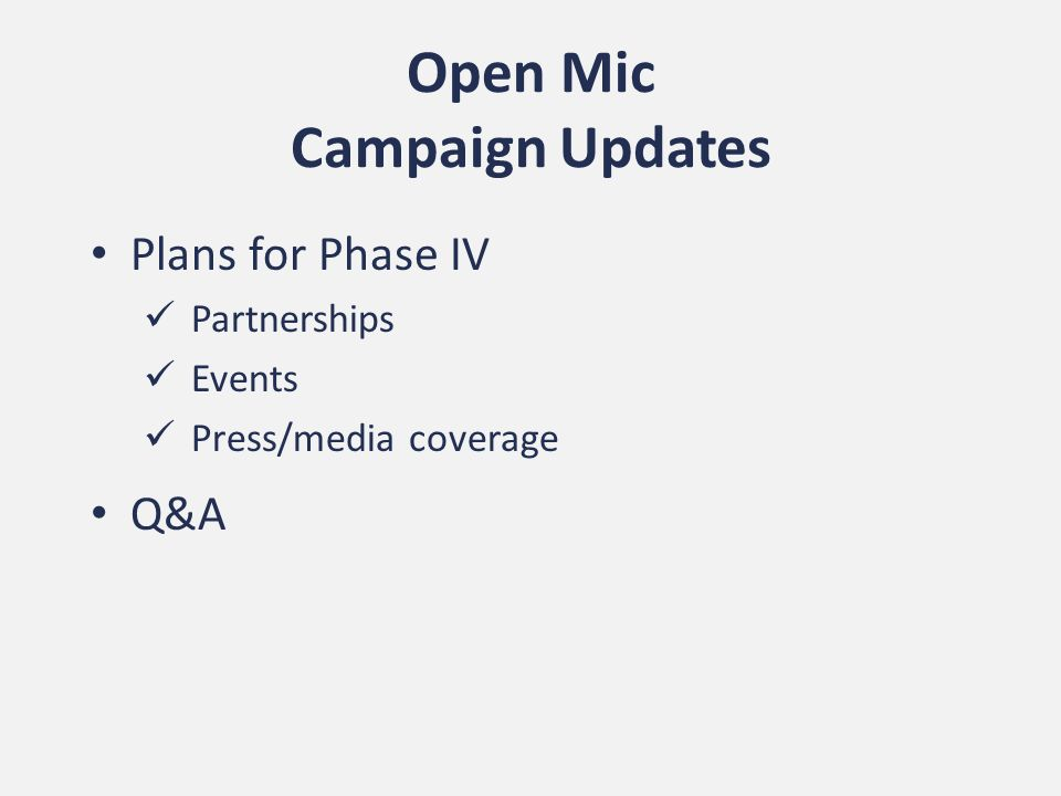 Open Mic Campaign Updates Plans for Phase IV Partnerships Events Press/media coverage Q&A