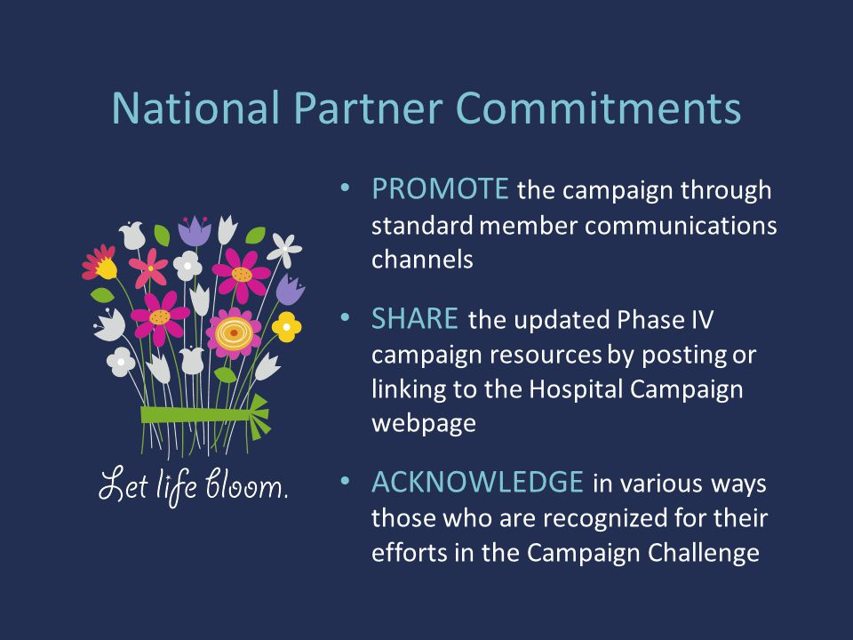 National Partner Commitments PROMOTE the campaign through standard member communications channels SHARE the updated Phase IV campaign resources by posting or linking to the Hospital Campaign webpage ACKNOWLEDGE in various ways those who are recognized for their efforts in the Campaign Challenge