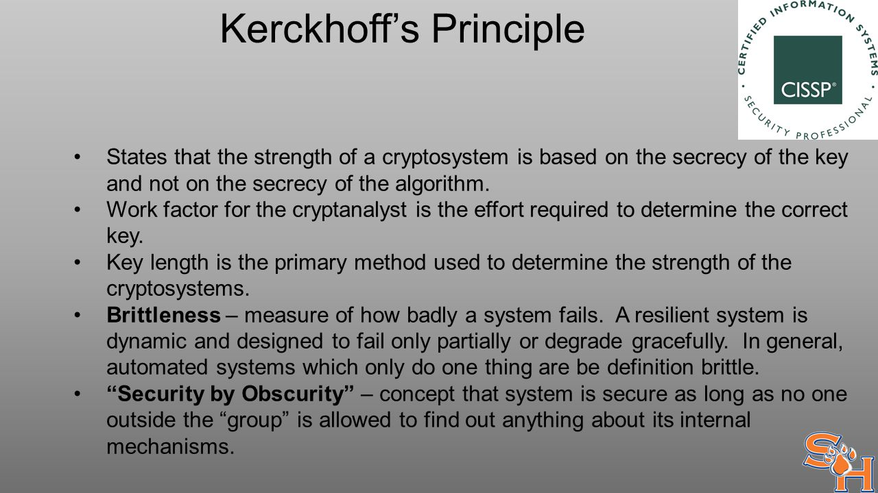 Kerckhoff's Principle States that the strength of a cryptosystem is based on the secrecy of the key and not on the secrecy of the algorithm.