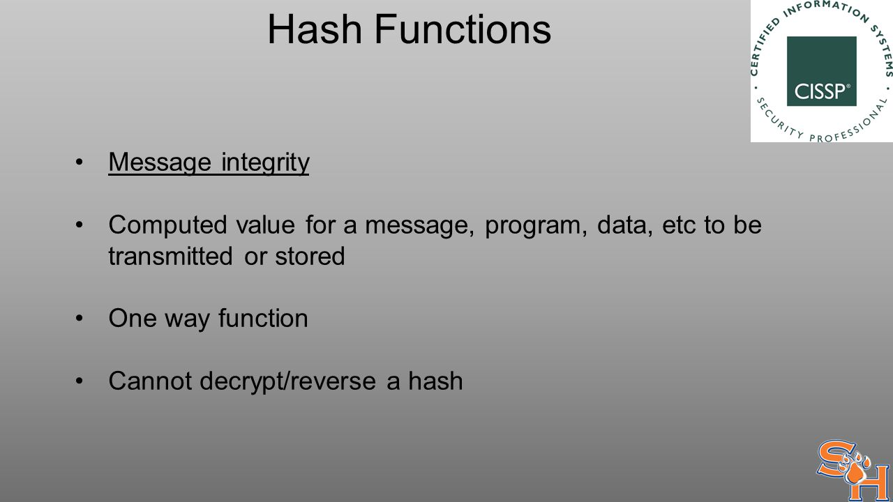 Hash Functions Message integrity Computed value for a message, program, data, etc to be transmitted or stored One way function Cannot decrypt/reverse a hash