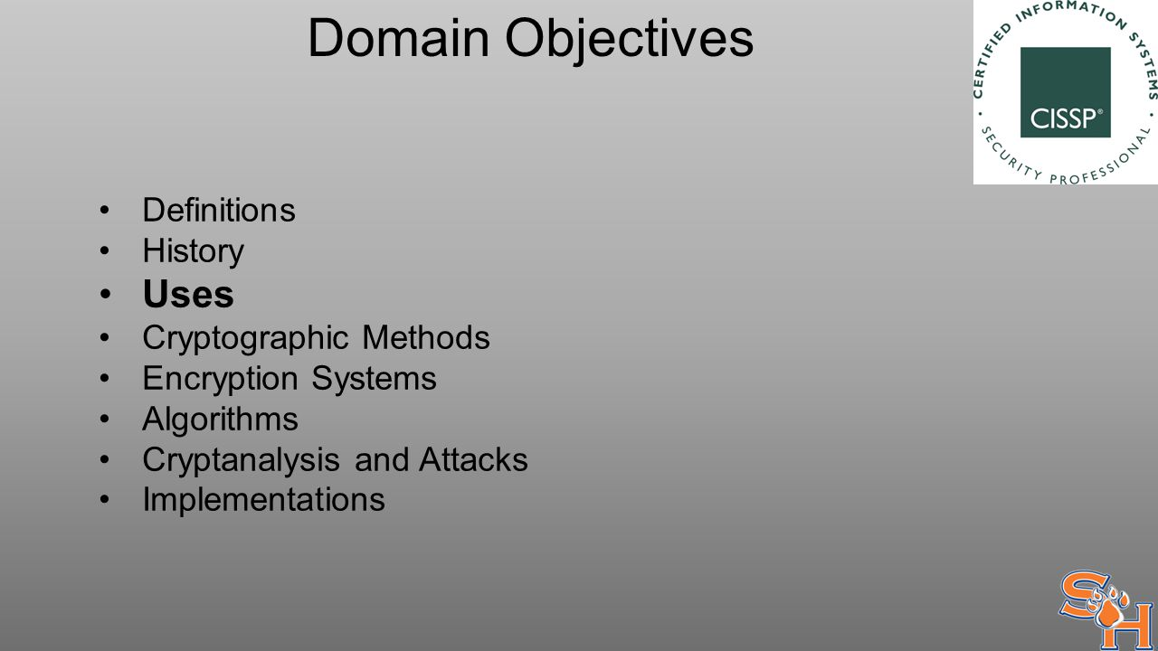 Domain Objectives Definitions History Uses Cryptographic Methods Encryption Systems Algorithms Cryptanalysis and Attacks Implementations