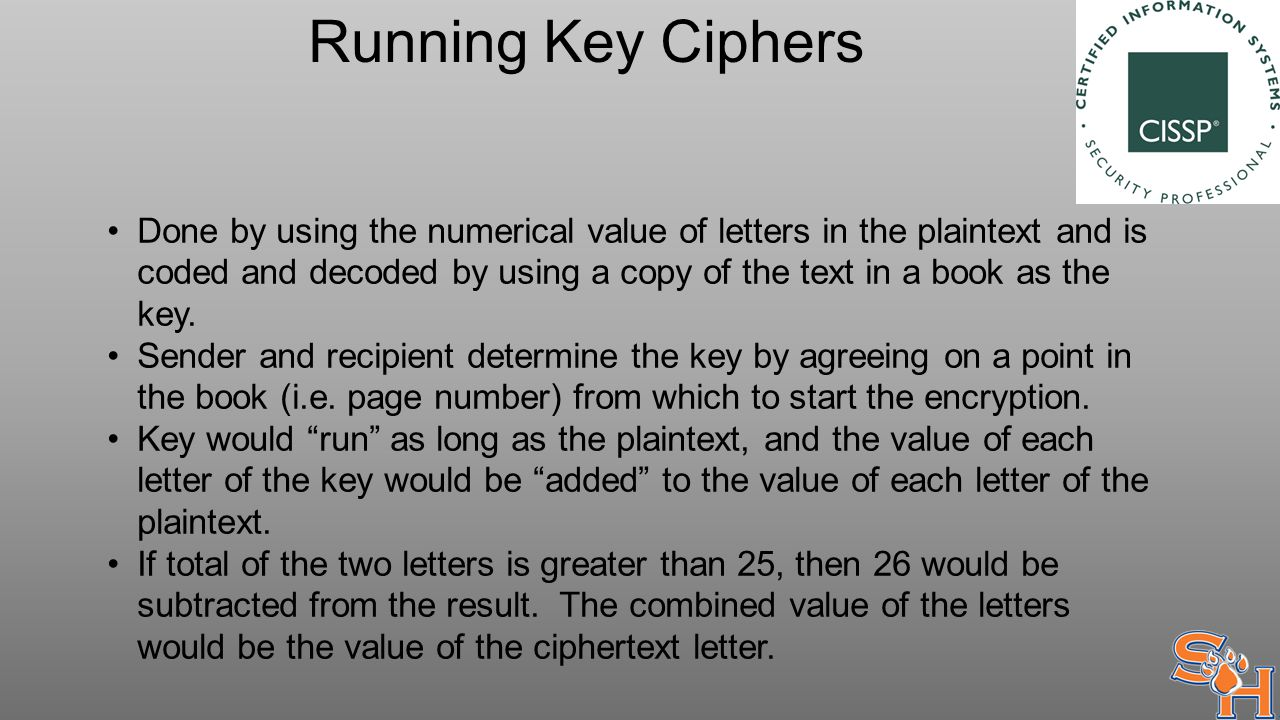 Running Key Ciphers Done by using the numerical value of letters in the plaintext and is coded and decoded by using a copy of the text in a book as the key.