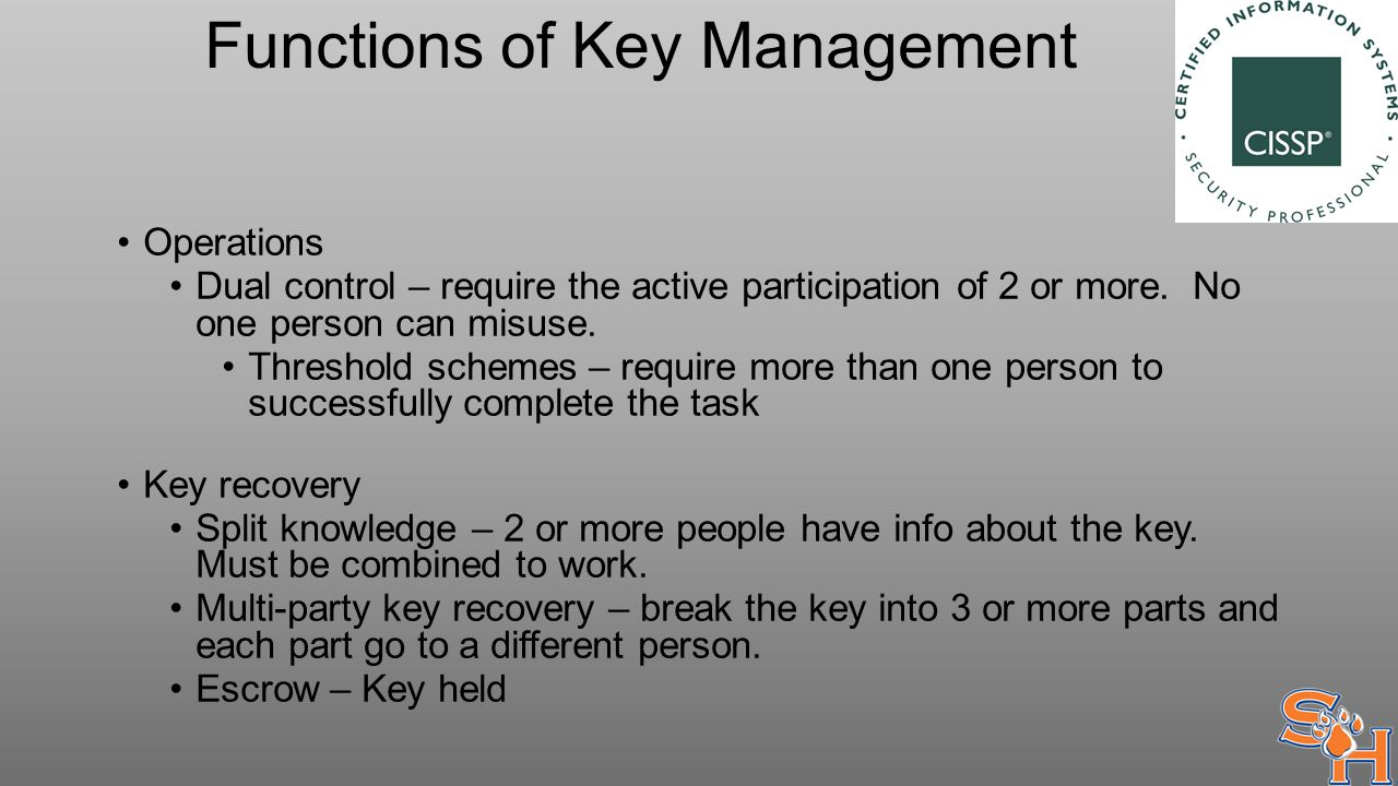 Functions of Key Management Operations Dual control – require the active participation of 2 or more.