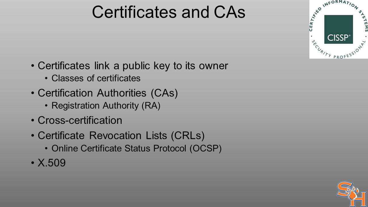Certificates and CAs Certificates link a public key to its owner Classes of certificates Certification Authorities (CAs) Registration Authority (RA) Cross-certification Certificate Revocation Lists (CRLs) Online Certificate Status Protocol (OCSP) X.509