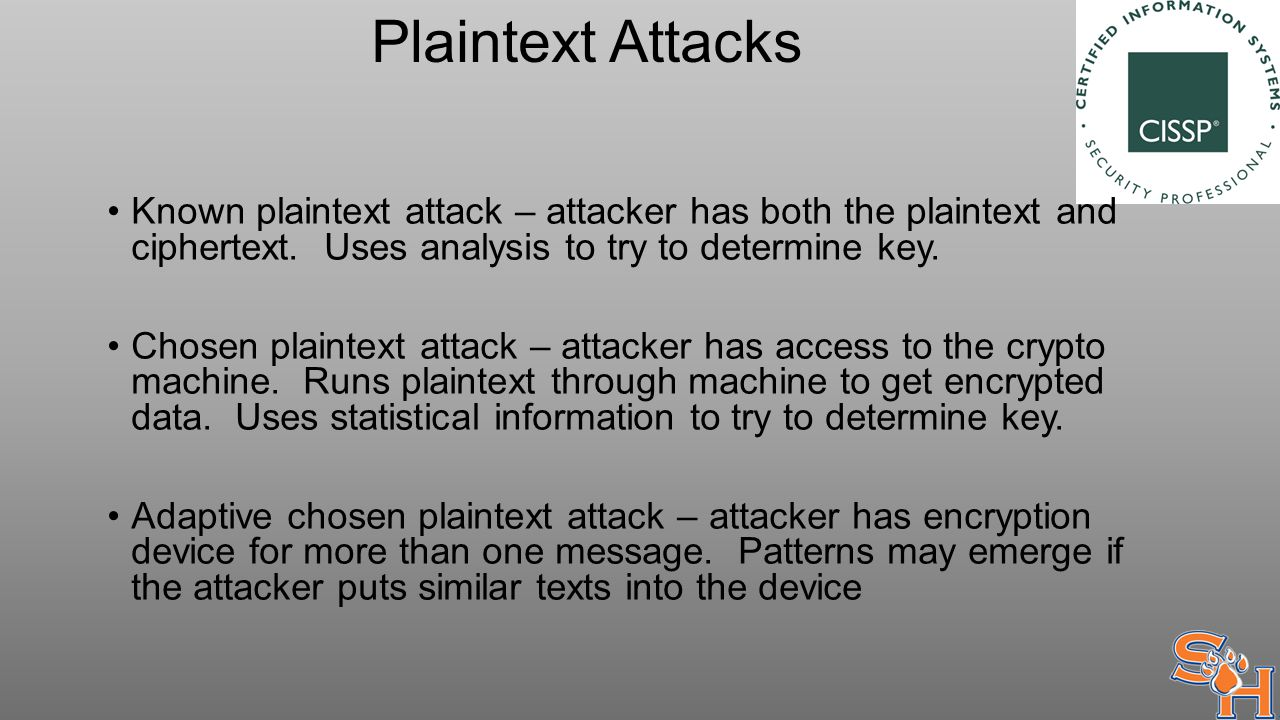 Plaintext Attacks Known plaintext attack – attacker has both the plaintext and ciphertext.