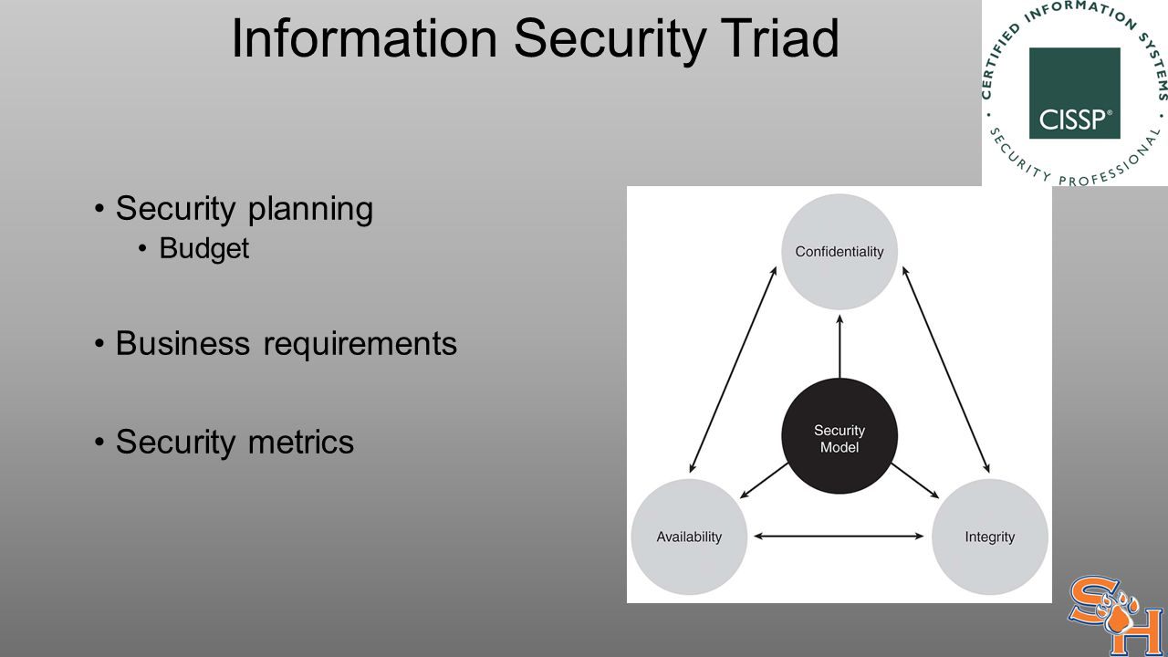Information Security Triad Security planning Budget Business requirements Security metrics