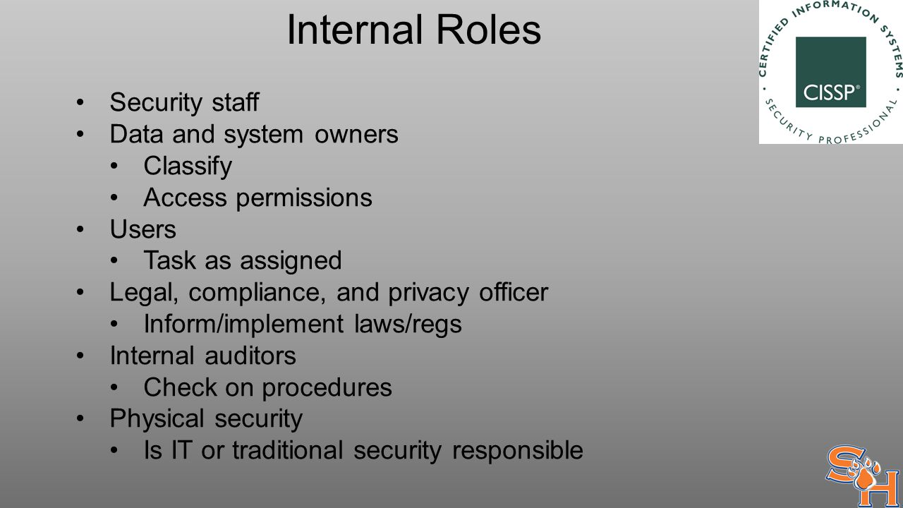 Internal Roles Security staff Data and system owners Classify Access permissions Users Task as assigned Legal, compliance, and privacy officer Inform/implement laws/regs Internal auditors Check on procedures Physical security Is IT or traditional security responsible