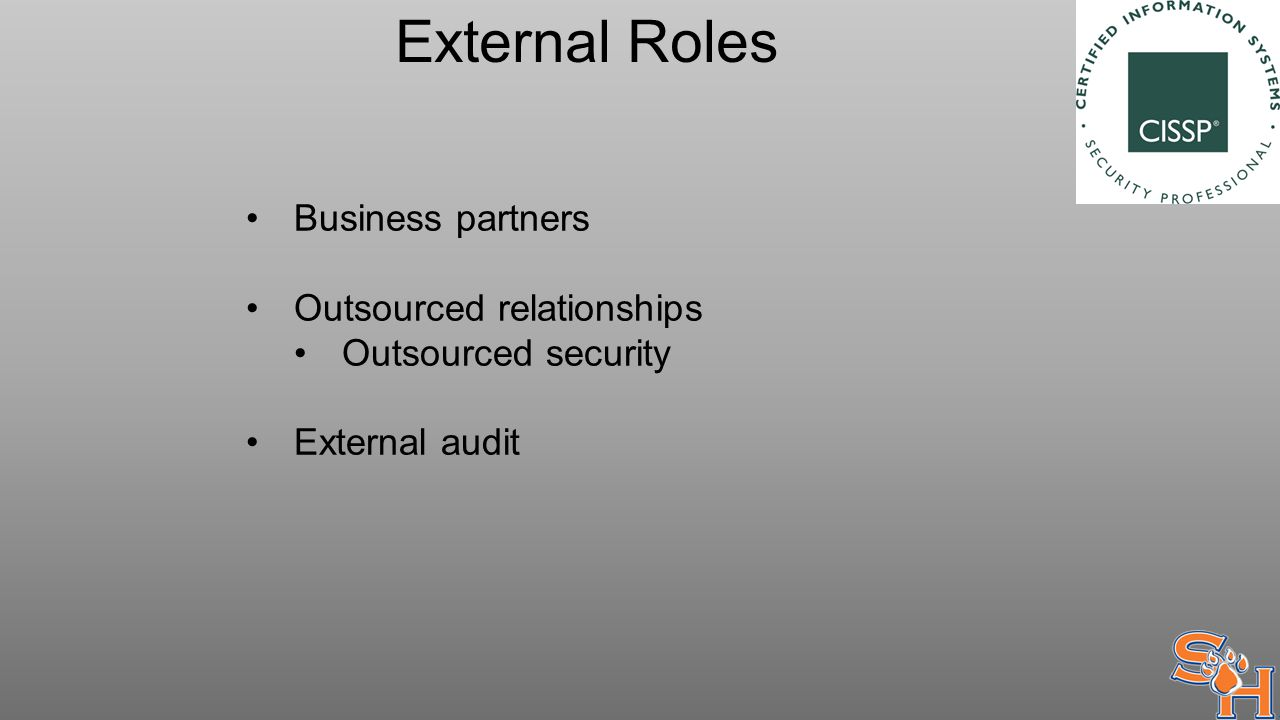 External Roles Business partners Outsourced relationships Outsourced security External audit