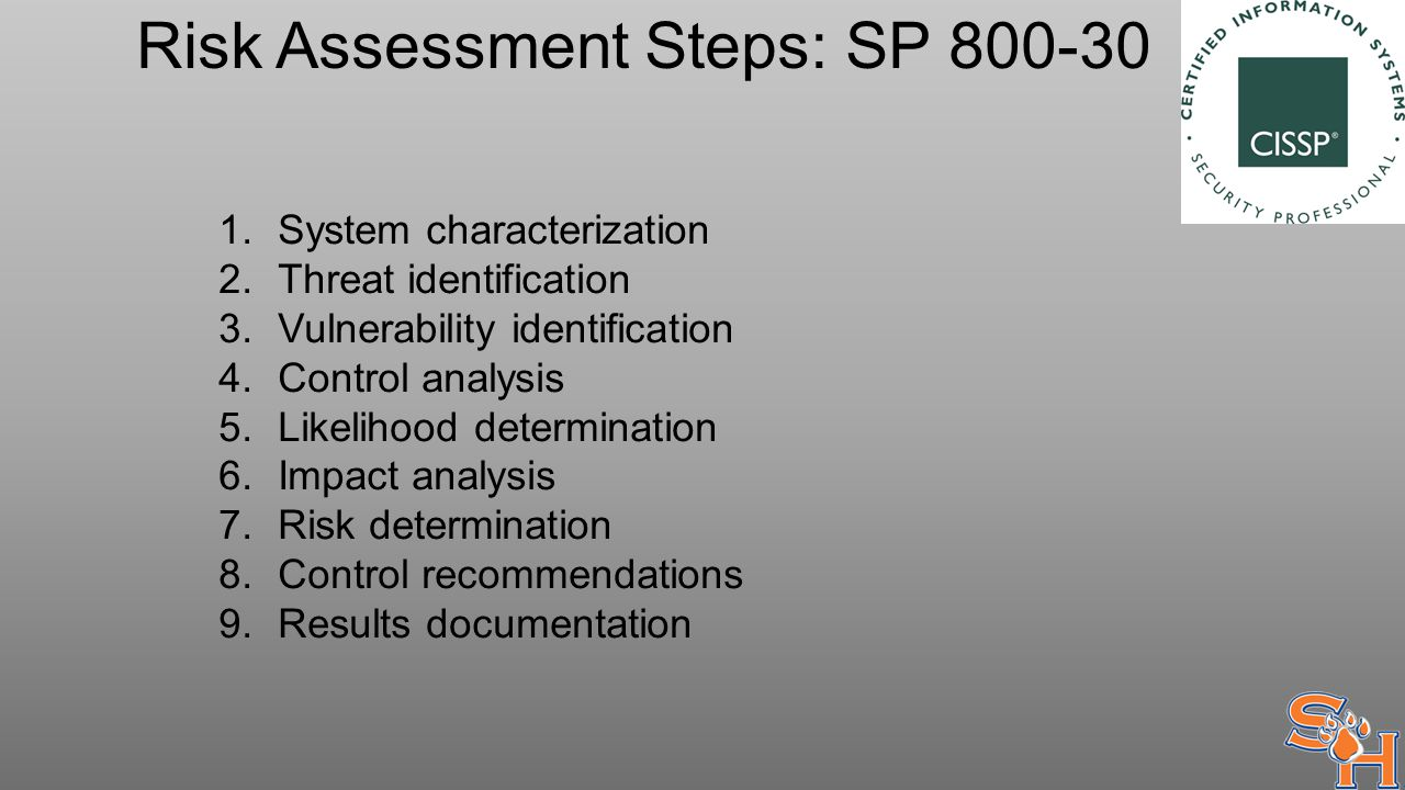 Risk Assessment Steps: SP 800-30 1.System characterization 2.Threat identification 3.Vulnerability identification 4.Control analysis 5.Likelihood determination 6.Impact analysis 7.Risk determination 8.Control recommendations 9.Results documentation