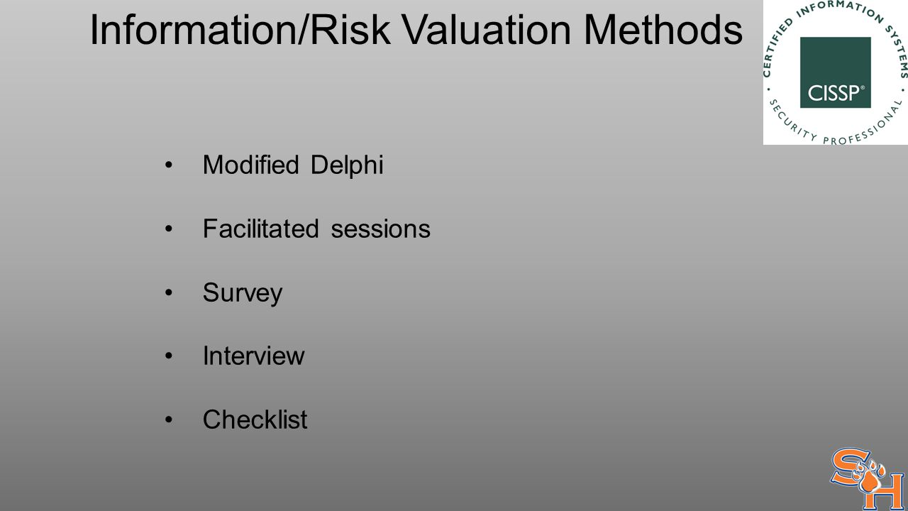 Information/Risk Valuation Methods Modified Delphi Facilitated sessions Survey Interview Checklist