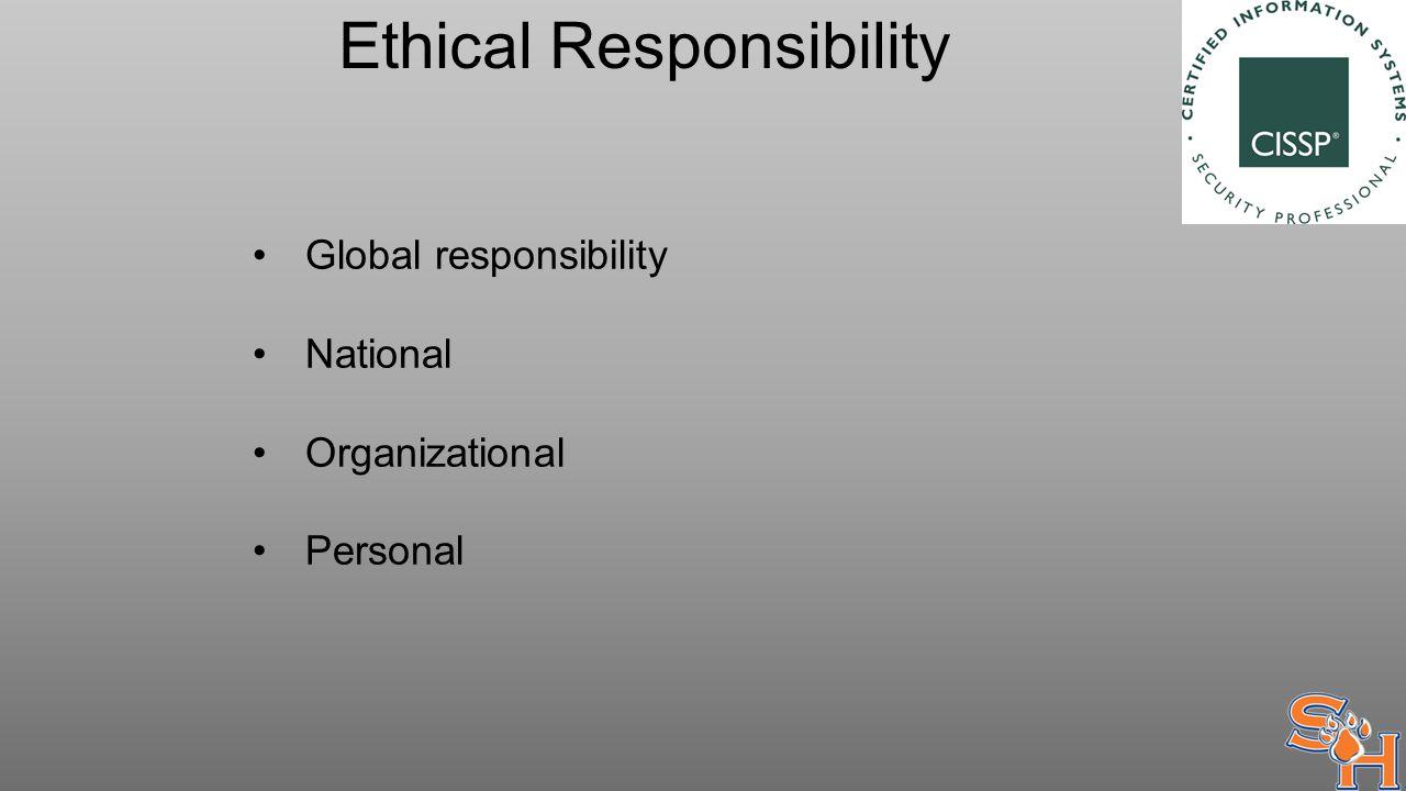 Ethical Responsibility Global responsibility National Organizational Personal