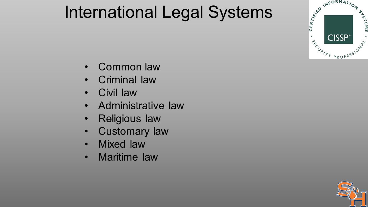 International Legal Systems Common law Criminal law Civil law Administrative law Religious law Customary law Mixed law Maritime law