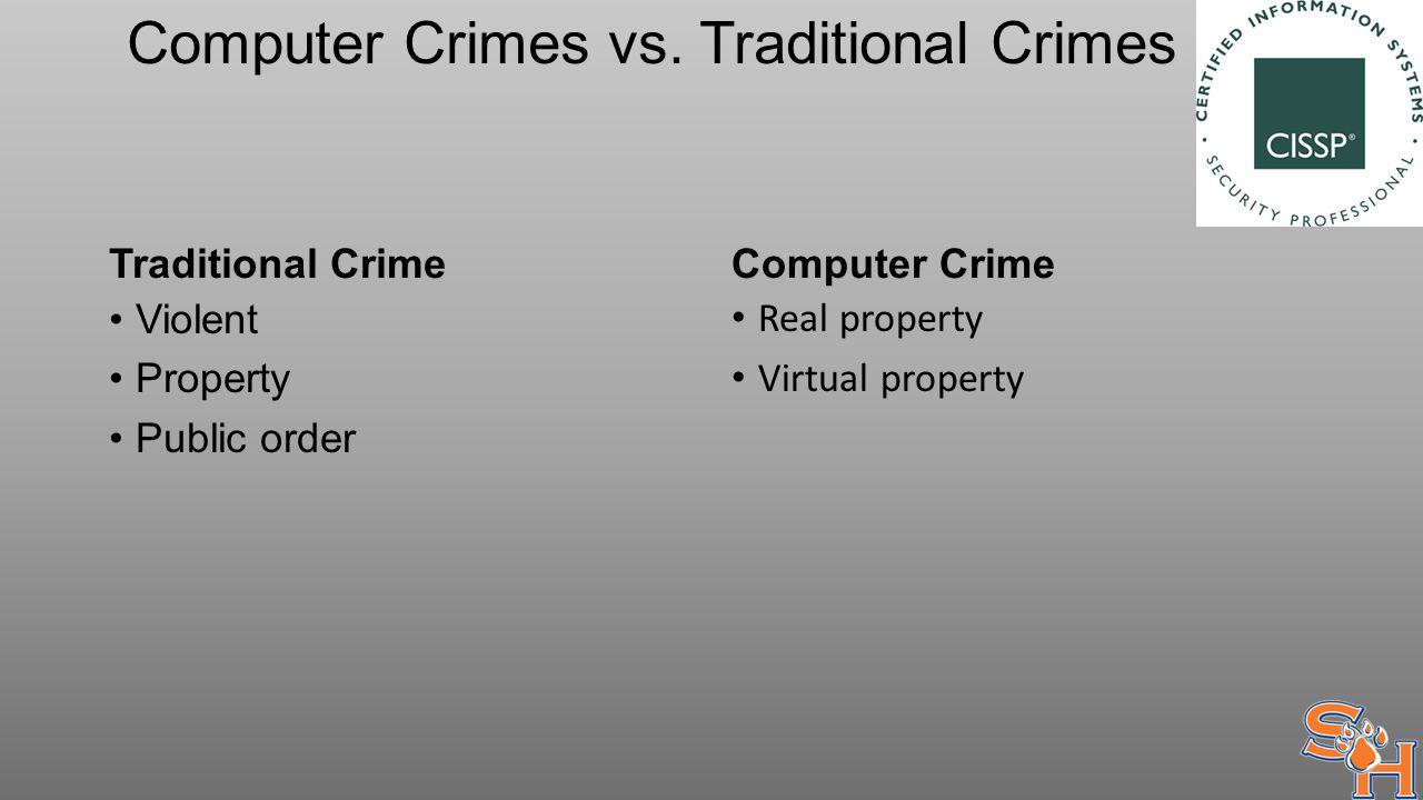Computer Crimes vs. Traditional Crimes Traditional Crime Violent Property Public order Computer Crime Real property Virtual property