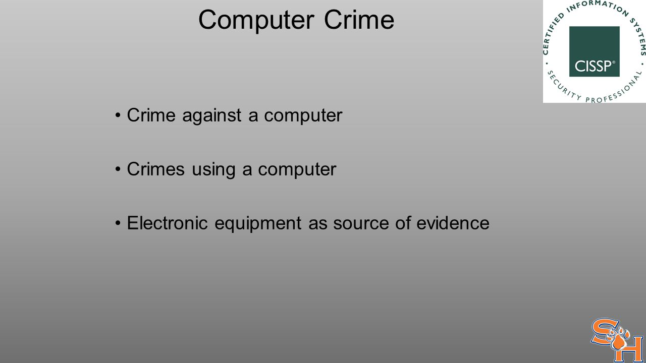 Computer Crime Crime against a computer Crimes using a computer Electronic equipment as source of evidence