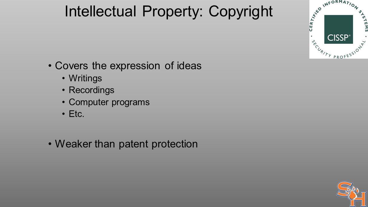 Intellectual Property: Copyright Covers the expression of ideas Writings Recordings Computer programs Etc.