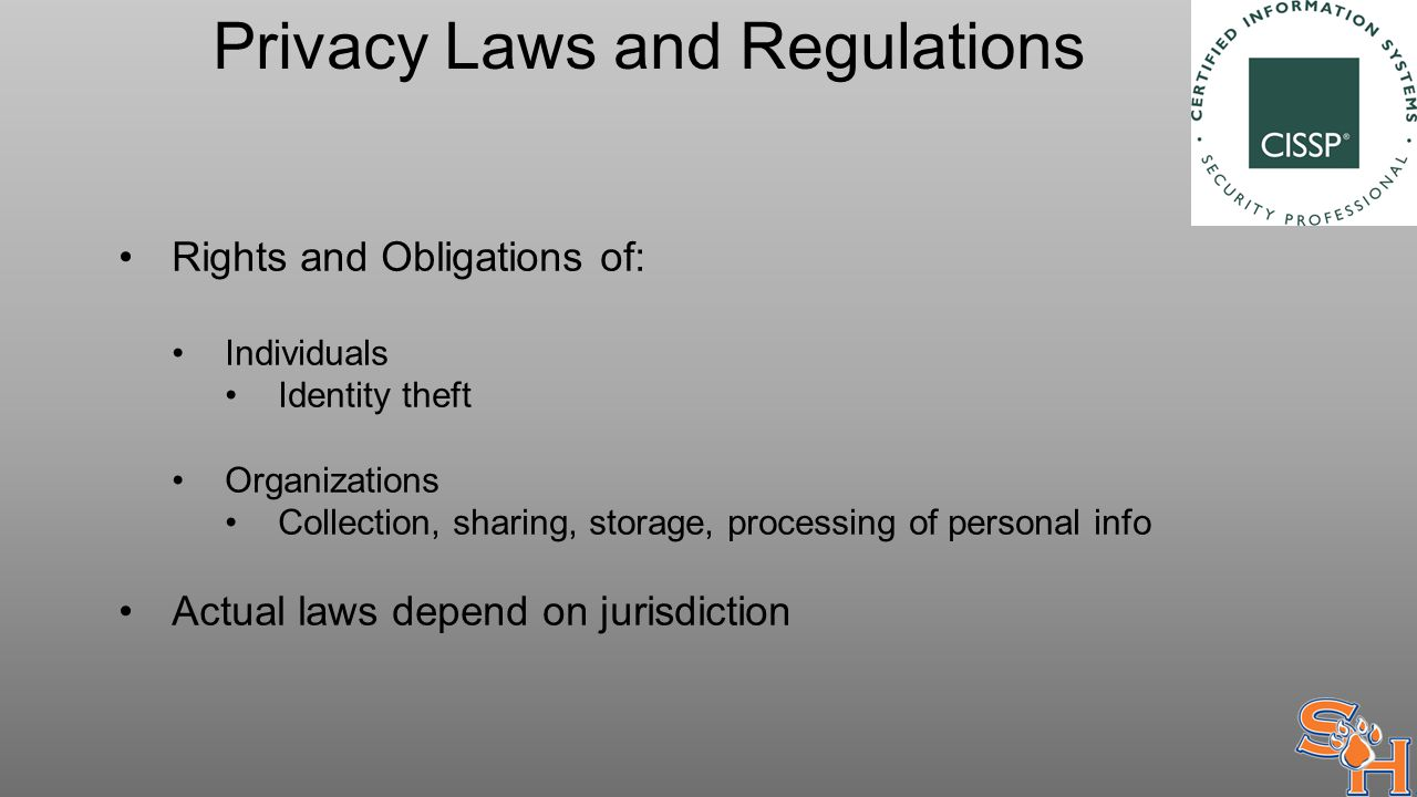 Privacy Laws and Regulations Rights and Obligations of: Individuals Identity theft Organizations Collection, sharing, storage, processing of personal info Actual laws depend on jurisdiction