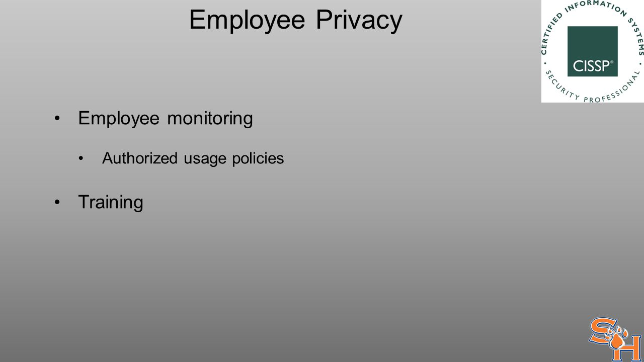 Employee Privacy Employee monitoring Authorized usage policies Training