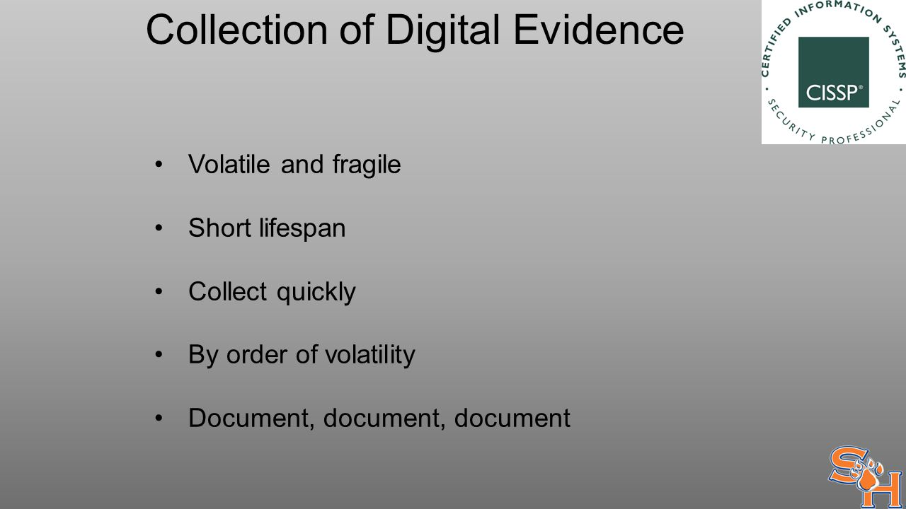 Collection of Digital Evidence Volatile and fragile Short lifespan Collect quickly By order of volatility Document, document, document