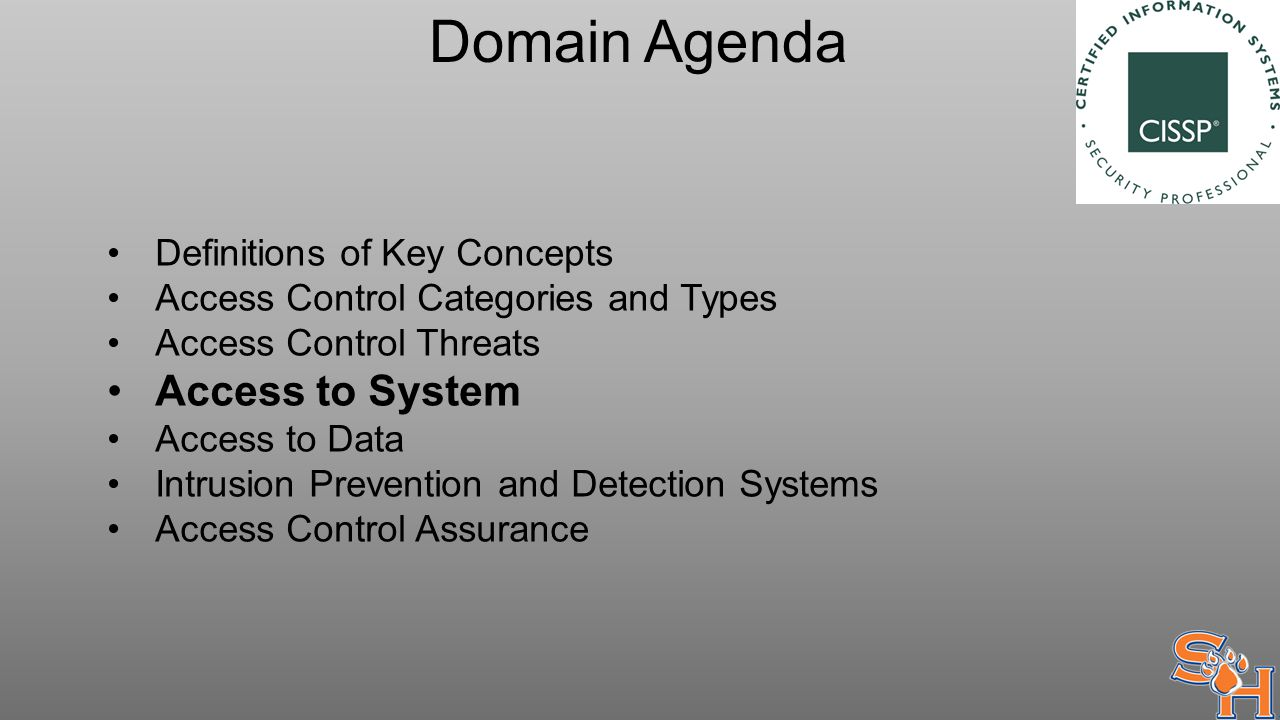 Domain Agenda Definitions of Key Concepts Access Control Categories and Types Access Control Threats Access to System Access to Data Intrusion Prevention and Detection Systems Access Control Assurance