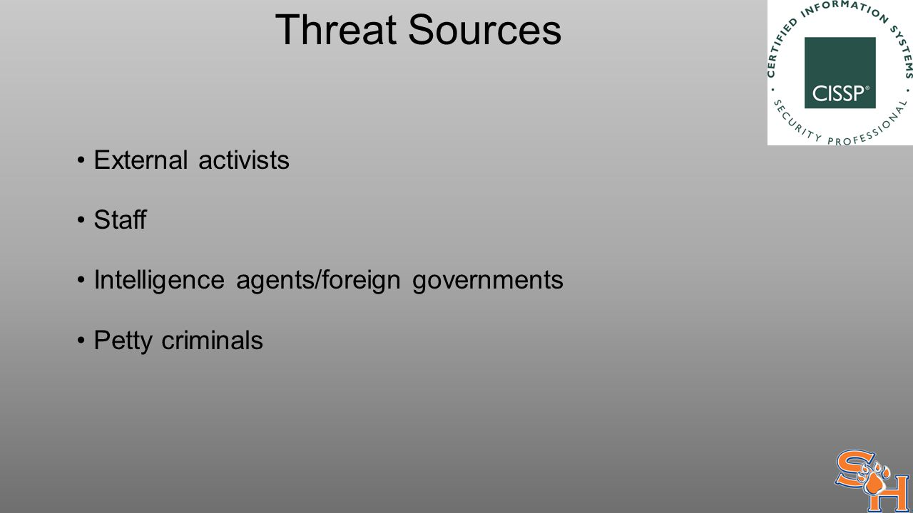 Threat Sources External activists Staff Intelligence agents/foreign governments Petty criminals